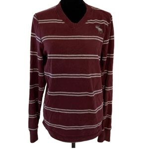 Abercrombie and Fitch maroon grey striped sweater